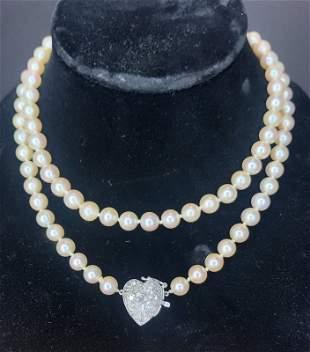 14k cultured pearl necklace, diamond heart clasp