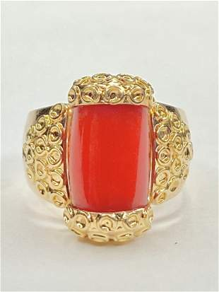 14k gold and coral ring, GIA, 6.1dwts