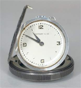 Tiffany Co traveling watch, St Christopher sterling