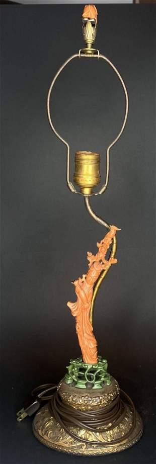 Chinese carved coral Guanyin lamp