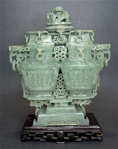 Chinese carved jade double vase