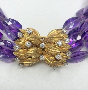 18k diamond and amethyst necklace