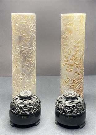Pair of Chinese carved jade hat stands
