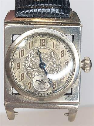 14k Art Deco Waltham wristwatch, leather strap