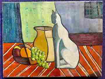 Still life painting with cat by Joseph Hirsch,c1954