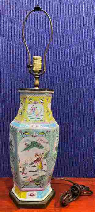 Chinese yellow & blue porcelain lamp