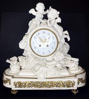 Bisque cupid mantel clock by Balthazar Paris