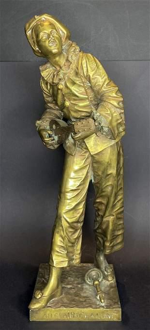 Bronze by Eutrope Bouret, Au Claire de la Lune