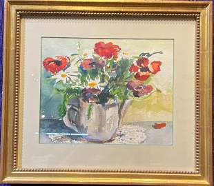 Watercolor still life of flowers