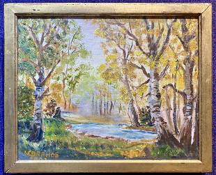 Painting by Wanda Drahos, White Birches, d2003