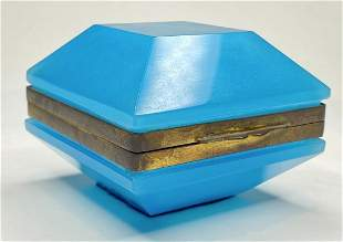 Unusual blue opaline square box