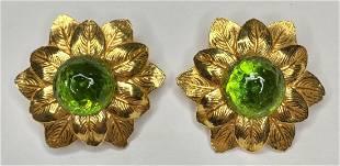 Pair of Philippe Ferrandis flower earrings