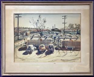 Watercolor of cars by Stephen Olszewski, d1944