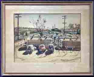 Watercolor of cars by Stephan Olszewski, d1944