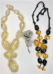 Three pieces of unique costume jewelry