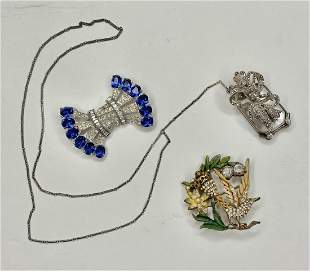 Costume jewelry (3): 2 brooches & lorgnette