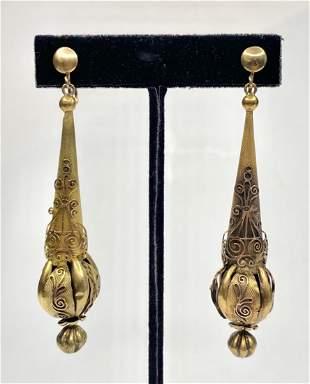 18k long Victorian earrings, replaced screw backs