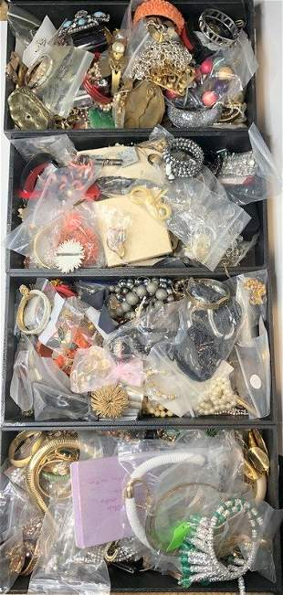 Costume jewelry in four trays (Twins Estate)