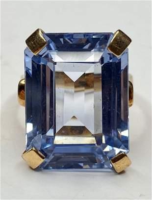 14k blue topaz ring, 7.65 dwts