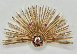 14k ruby diamond sunburst brooch, c1950