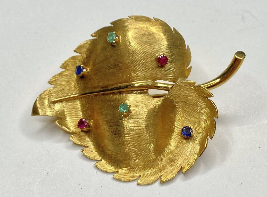 18k Cartier leaf brooch with colored stones