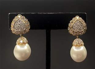 18k diamond and South Sea pearl earrings by Trio