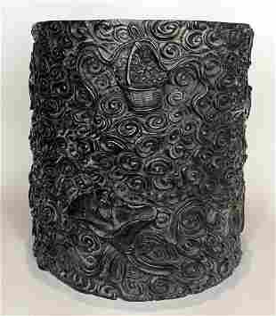 Large Chinese carved brush pot