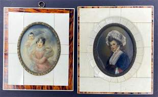 Two framed miniature portraits, brown border