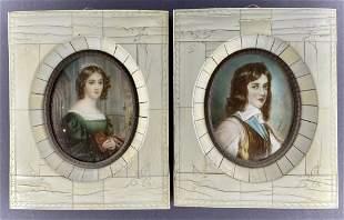 Two framed miniature portraits, man & woman