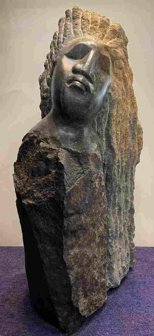 Grey & orange stone sculpt, by Josiah Manzi