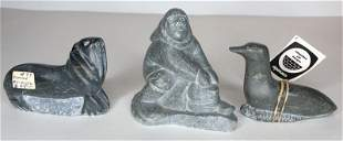 Stone sculptures by Levi Smith, c1970 & 2 others