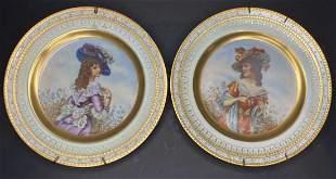 Pair of portrait plates, signed Baumgartner