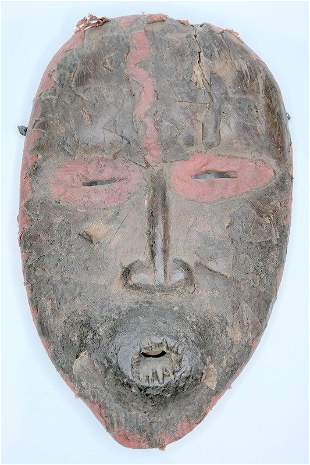 Tribal wooden face mask, red border