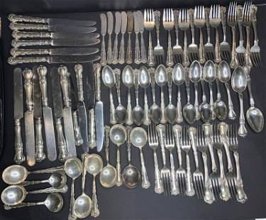 Two partial sterling flatware sets: Gorham, FM Whiting