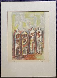 Color lithograph by Henry Moore, The Four Sketches 1950