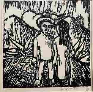 Rufino Tamayo woodcut, Man & Woman, c1925
