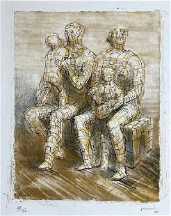 Color litho by Henry Moore, Family Group 1950