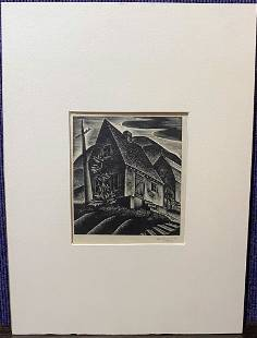 Engraving by Lynd Ward, Farmhouse, signed dated 1932