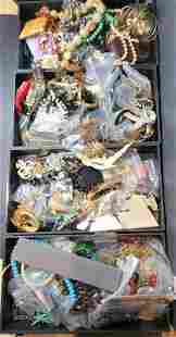 Four trays of costume jewelry (Twins Estate)