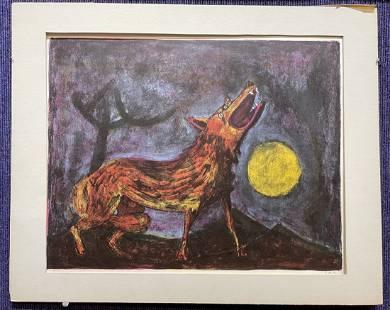 Rufino Tamayo lithograph of Coyote, c1950