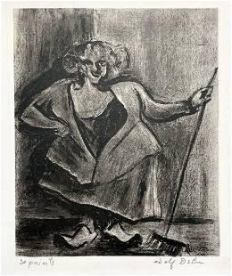 Adolf Dehn lithograph, My Femme de Menage