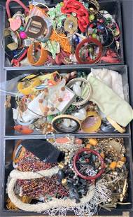 Three trays of costume jewelry (Dolgin Estate)