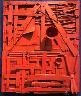 Red construction wall sculpt, Louise Nevelson style