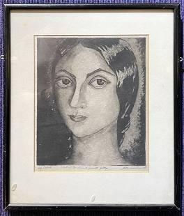 Self portrait print by Stella Drabkin, dated 1938
