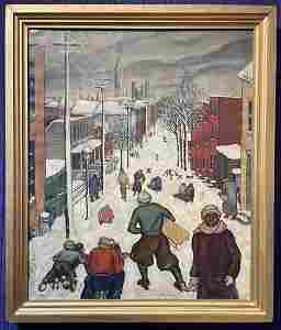 Painting of snowy hill by Stella Drabkin, dated 1934