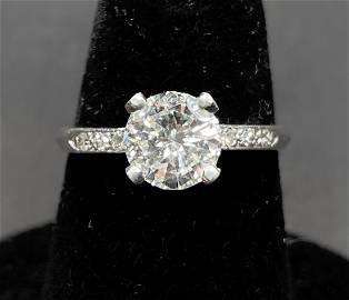 Platinum and dia ring, GIA 1.08ct,K color VS2