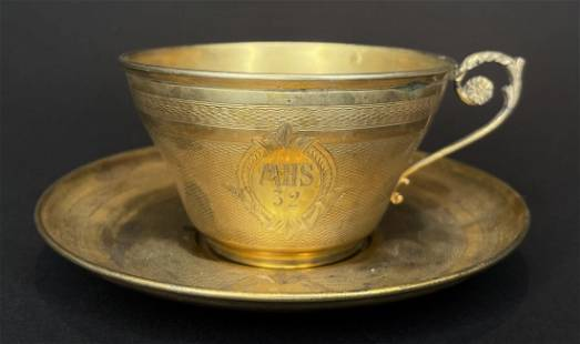 French gilt silver cup and saucer, c.1900