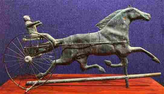 Horse & buggy weathervane, possibly copper, age unknown