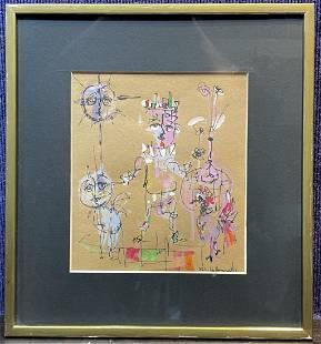 Watercolor of figures & rooster, Alvin C Hollingsworth