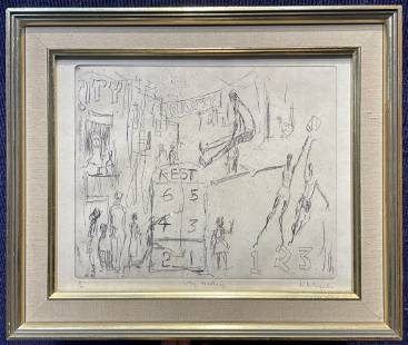 Etching by Alvin Hollingsworth, City Montage